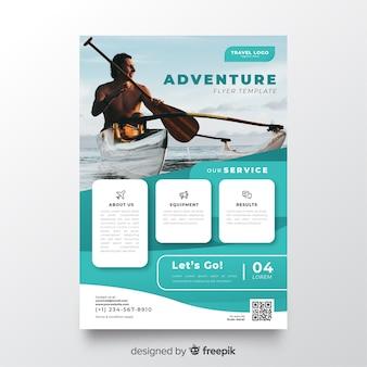 Folheto de viagem modelo com foto
