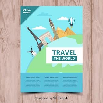 Folheto de viagem monumentos plana