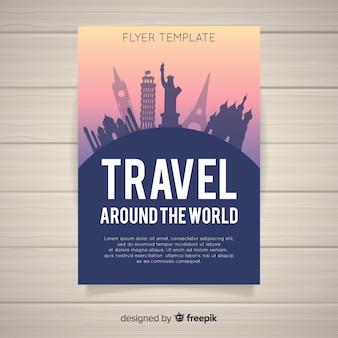 Folheto de viagens de silhuetas de monumento