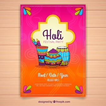 Folheto desenhado à mão para holi festival