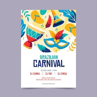Folheto desenhado à mão para o carnaval brasileiro