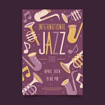 Folheto do dia internacional do jazz plana