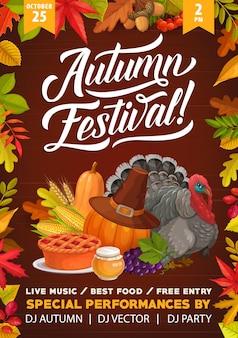 Folheto do festival de outono de ação de graças, peru dos desenhos animados