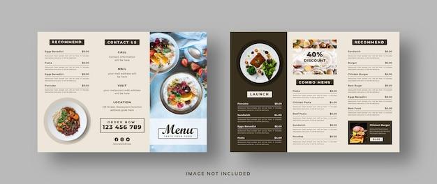 Folheto do menu de comida com três dobras para restaurante