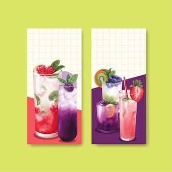Folheto do menu de refrigerantes e ilustração em aquarela do folheto