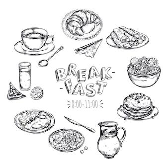 Folheto do menu do café da manhã com comida