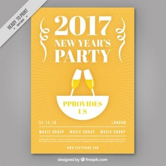 Folheto do partido 2017 de ano novo com brinde
