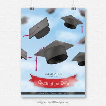 Folheto do partido da graduação com tampões da graduação