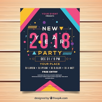 Folheto do partido de ano novo em estilo memphis