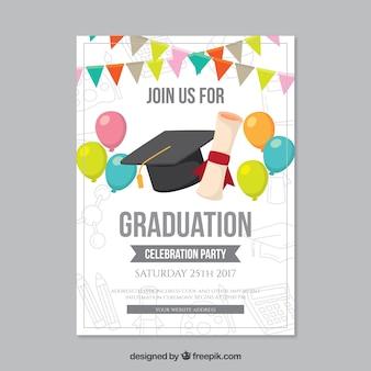 Folheto do partido de graduação com balões e guirlandas