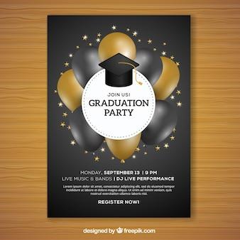 Folheto do partido de graduação com balões negros e dourados