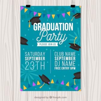 Folheto do partido de graduação com guirlandas e tampões da graduação