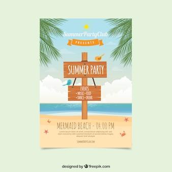 Folheto do partido de verão com sinal de madeira