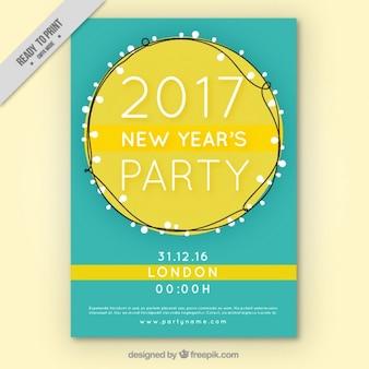 Folheto do partido do ano novo com luzes cadeia desenhados à mão