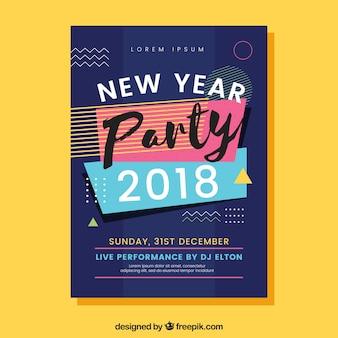 Folheto do partido do ano novo de 2018