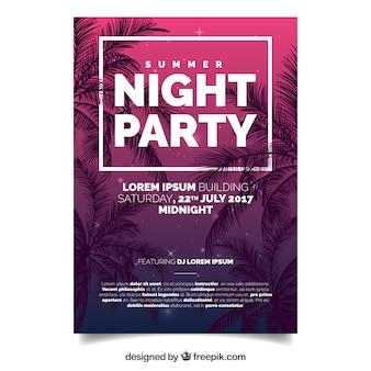 Folheto do partido do verão com palmeiras