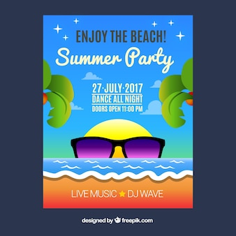 Folheto do partido do verão com vidros de sol