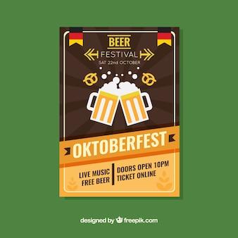 Folheto do partido oktoberfest em estilo vintage
