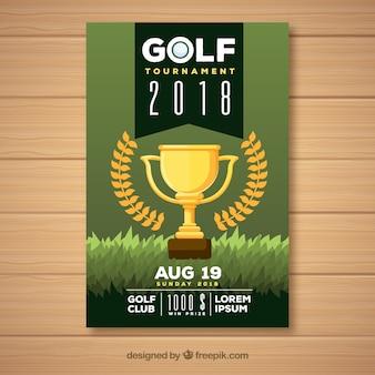 Folheto do torneio de golfe com troféu
