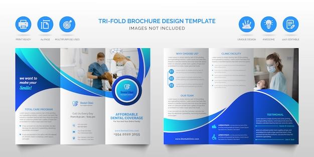 Folheto dobrável em três partes azul profissional moderno corporativo ou modelo de design de brochura com três dobras de negócios de cuidados de saúde médicos