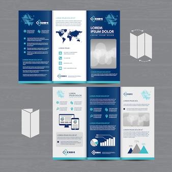 Folheto dobrável em três partes do folheto do negócio