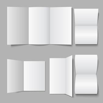Folheto dobrável em três partes do original branco vazio. brochura de panfleto de publicidade realista 3d.
