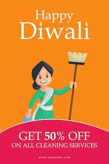 Folheto e design de pôster da promoção diwali sobre serviços de limpeza