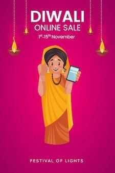 Folheto e pôster da venda online diwali com uma mulher mostrando o telefone celular