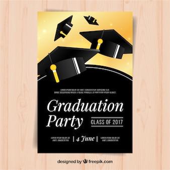 Folheto elegante do partido com tampas pretas da graduação