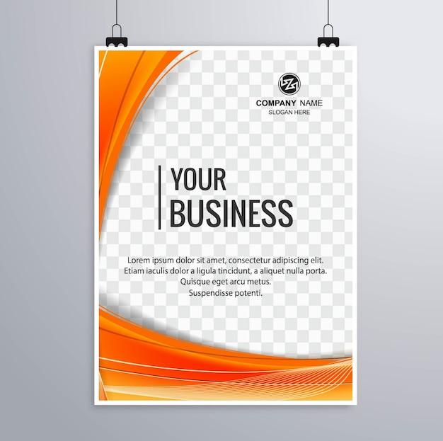 Folheto empresarial suspenso com formas laranja
