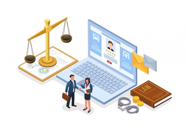 Folheto escolhendo bem sucedido advogado plano isométrico.