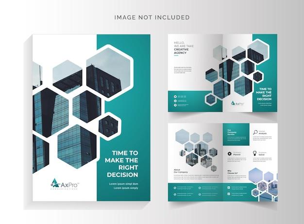 Folheto hexagon business bifold