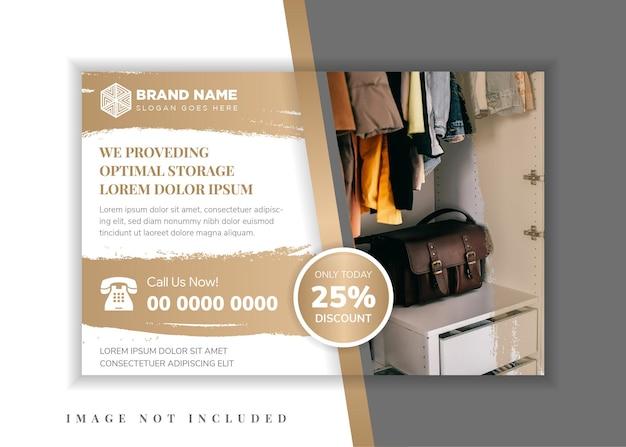 Folheto horizontal para armazenamento ideal de negócios com fundo de pinceladas. design gráfico