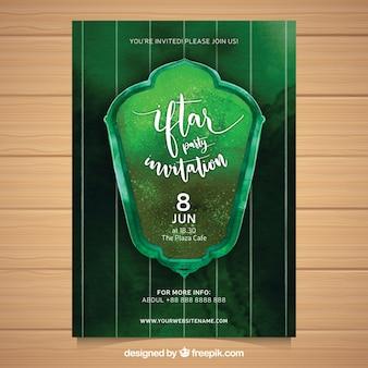 Folheto iftar aquarela verde