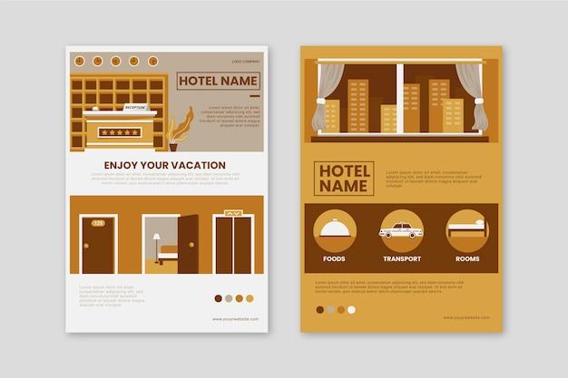 Folheto ilustrado com informações sobre hotéis modernos