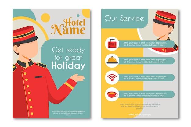 Folheto ilustrado com informações sobre o hotel