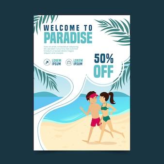 Folheto ilustrado de promoções de viagens
