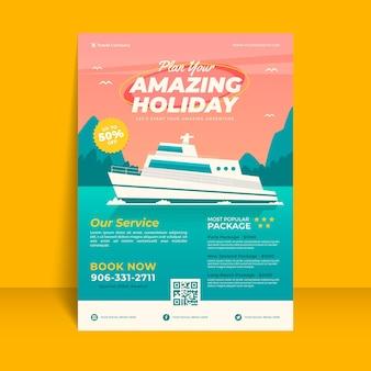 Folheto ilustrado de venda de viagens com cruzeiro