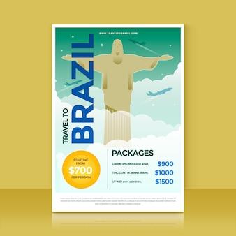 Folheto ilustrado de venda de viagens com o brasil