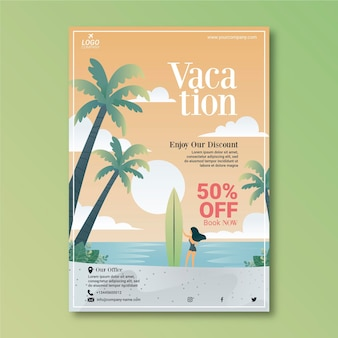 Folheto ilustrado de venda de viagens