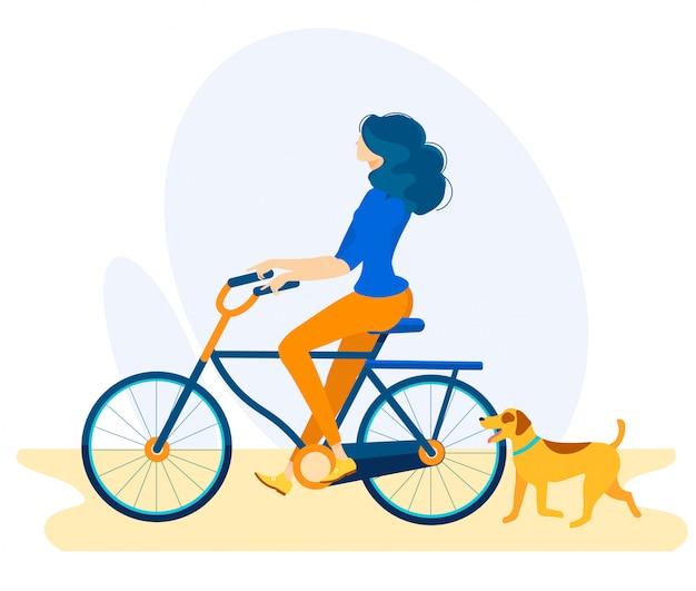 Folheto informativo ciclista com desenhos animados do cão.