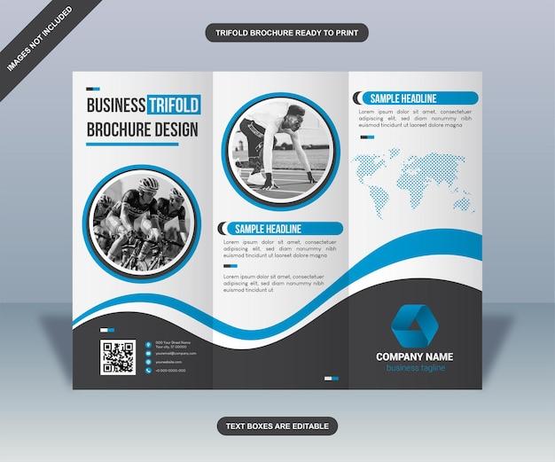 Folheto informativo de negócios modern blue curves com três dobras