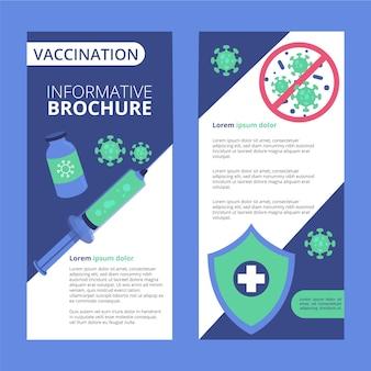 Folheto informativo de vacinação contra coronavírus de design plano