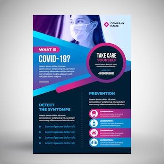 Folheto informativo do coronavírus com foto