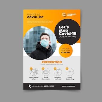 Folheto informativo do coronavírus com foto Vetor Premium
