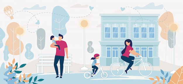 Folheto informativo família juntos ao ar livre, plana