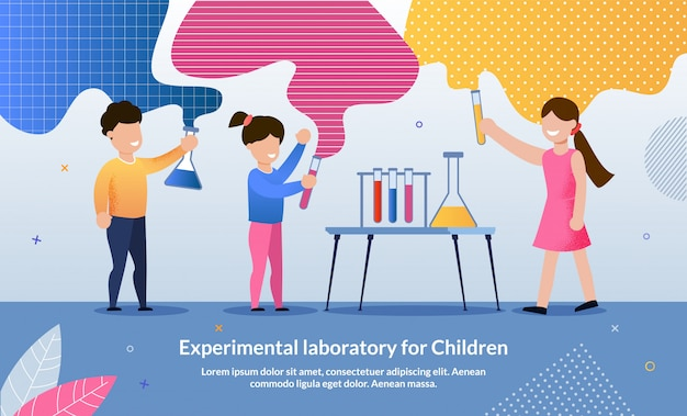 Folheto laboratório experimental escrito para crianças