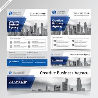 Folheto, mídia social e modelos de banner azul para agência de negócios criativos