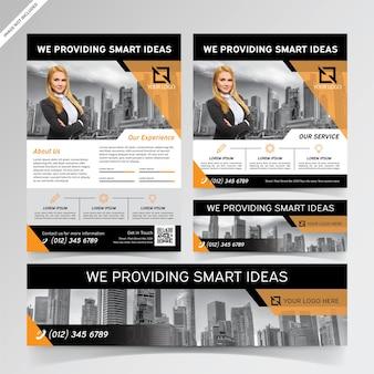 Folheto, mídia social e modelos de banner para agências fornecedoras de ideias inteligentes