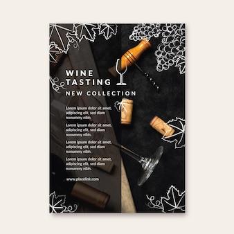 Folheto modelo de degustação de vinhos